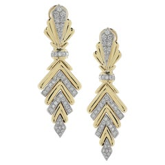 3 Carat Diamond Two-Tone Gold Dangle Earrings