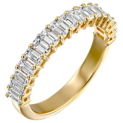 3 Carat Emerald Cut Diamond Band, 18 Karat Yellow Gold VS1 Wedding Band