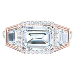 3 Carat Emerald Cut GIA Certified Diamond Engagement Rose Gold Ring