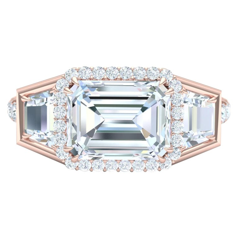 3 Carat Emerald Cut GIA Certified Diamond Engagement Rose Gold Ring For Sale