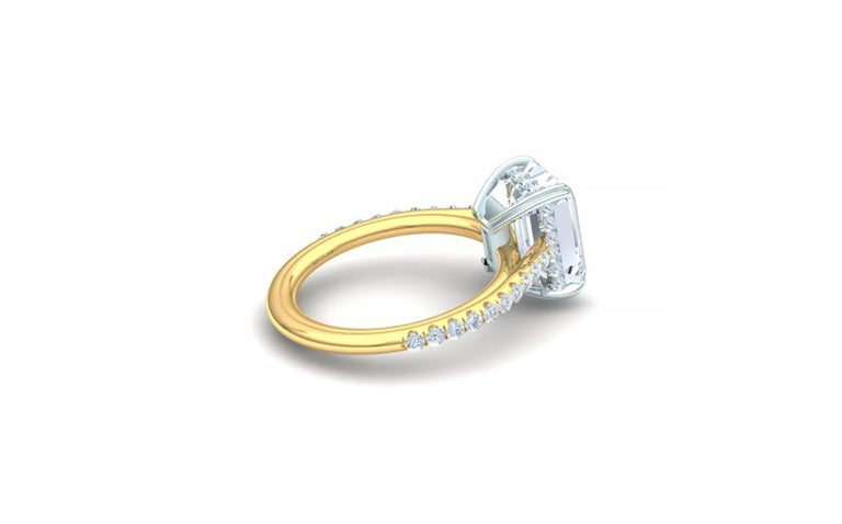 Modern 3 Carat Emerald Cut GIA Certified G-VS2 Engagement Diamond Ring For Sale