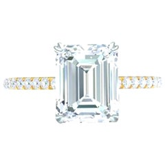 3 Carat Emerald Cut GIA Certified G-VS2 Engagement Diamond Ring