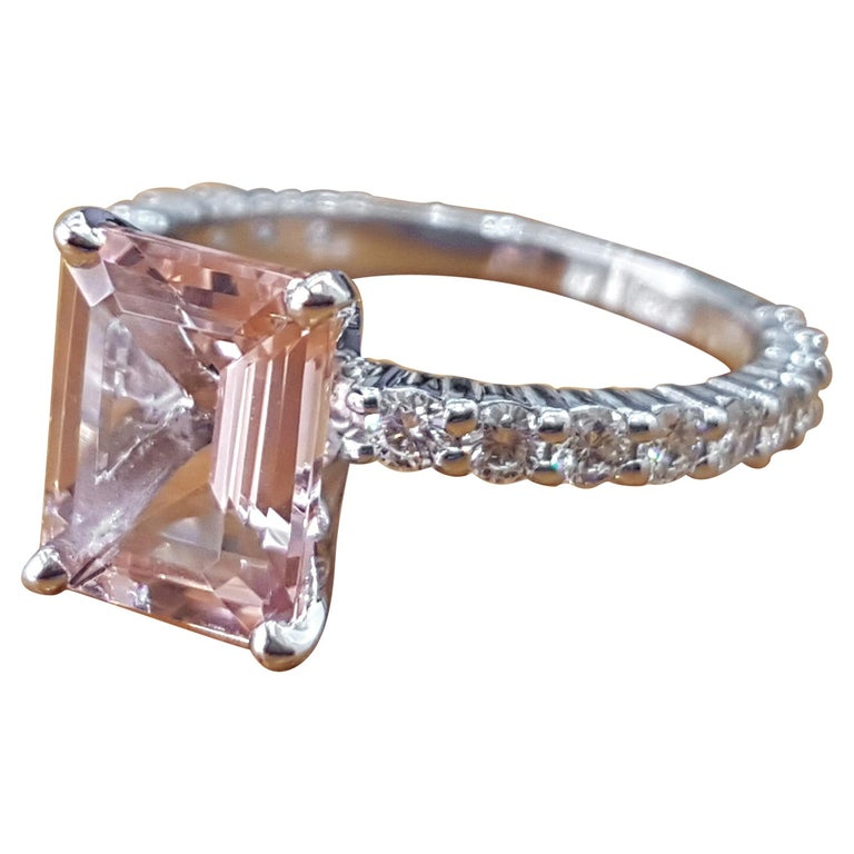 3 Carat Emerald Morganite 14 Karat White Gold Engagement Ring with Diamonds For Sale