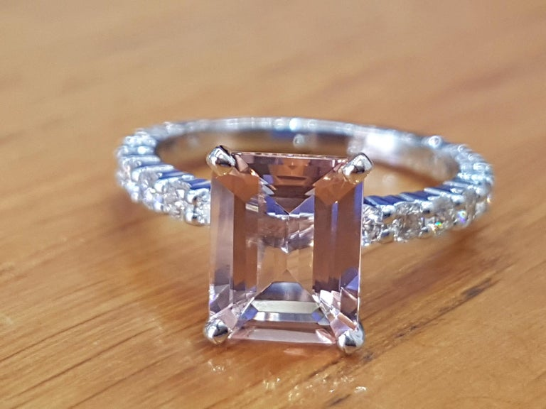 One of a kind 3 Carat Morganite and Diamonds Engagement Ring - An amazing 2.5-3.0 carat pink/peach natural emerald cut morganite gemstone,  adorned by 0.90ctw of white natural diamonds - this ring is a great diamond alternative ring that will draw