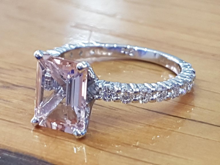 Art Deco 3 Carat Emerald Morganite 14 Karat White Gold Engagement Ring with Diamonds For Sale