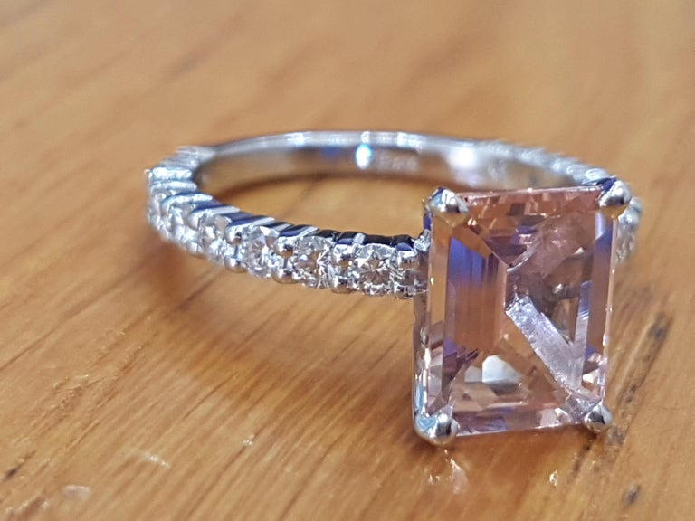 Emerald Cut 3 Carat Emerald Morganite 14 Karat White Gold Engagement Ring with Diamonds For Sale