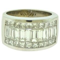 3 Carat Emerald Princess Eternity Band Ring in 18 Karat White Gold