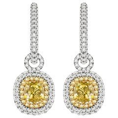 3 Carat Fancy Yellow Diamond and White Diamonds 14 Karat White Gold Earrings