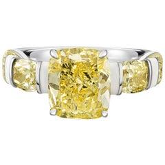 GIA 3ct Fancy Yellow Diamond Ring