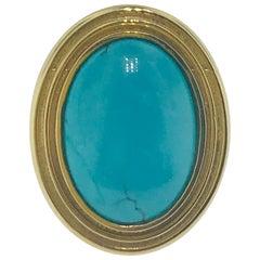 3 Carat Genuine Persian Turquoise Unique Gold Fashion Ring in 14 Karat Gold
