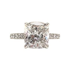 3 Carat GIA Certificate E Color Cushion Cut Diamond Platinum Engagement Ring