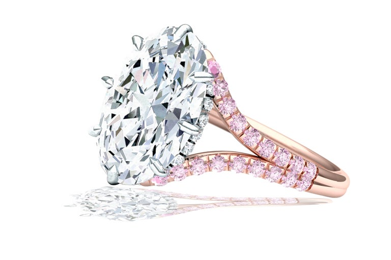 Modern 3 Carat GIA Certified Oval Diamond Pink Diamond Engagement Ring For Sale