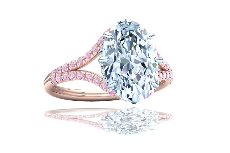 3 Carat GIA Certified Oval Diamond Pink Diamond Engagement Ring In Excellent Condition For Sale In Aliso Viejo, CA