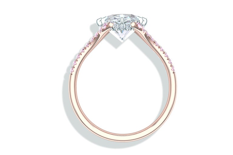 3 Carat GIA Certified Oval Diamond Pink Diamond Engagement Ring For Sale 1