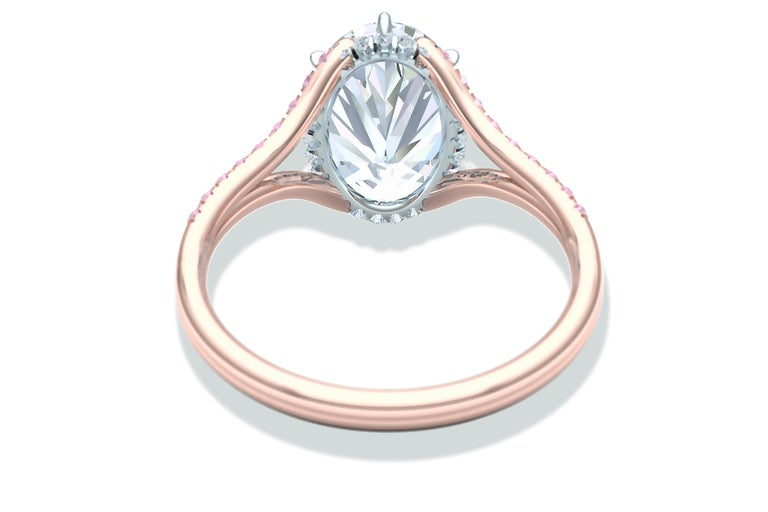 3 Carat GIA Certified Oval Diamond Pink Diamond Engagement Ring For Sale 2