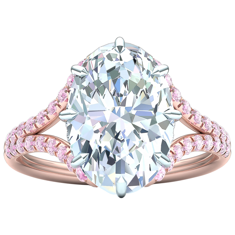 3 Carat GIA Certified Oval Diamond Pink Diamond Engagement Ring