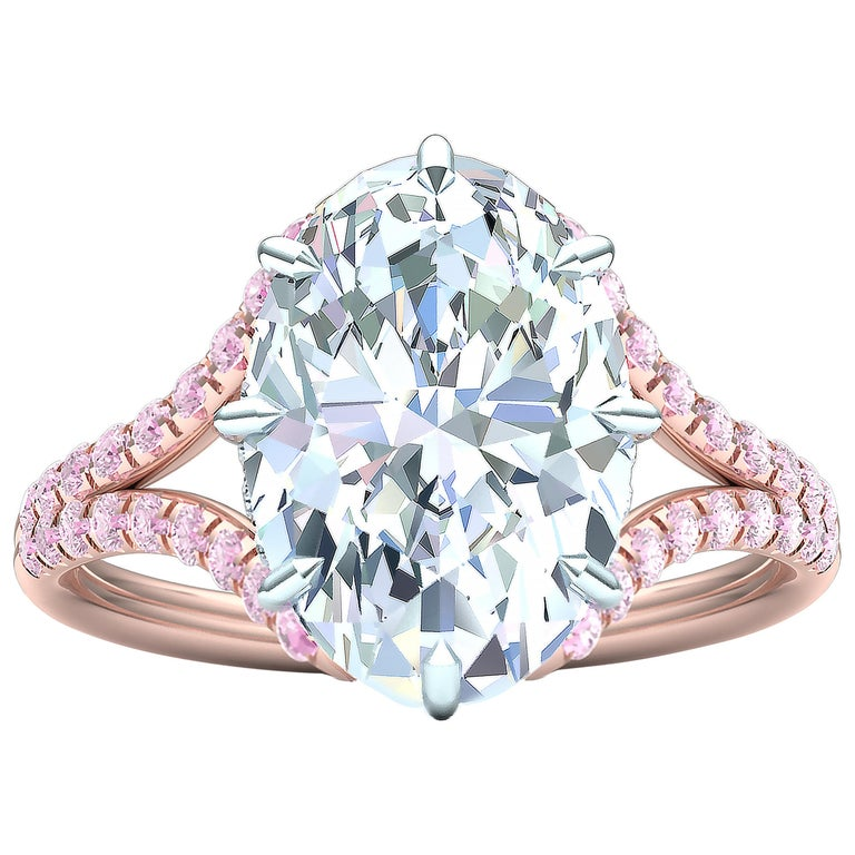 3 Carat GIA Certified Oval Diamond Pink Diamond Engagement Ring For Sale