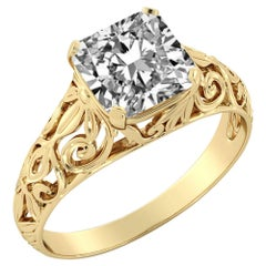3 Carat GIA Cushion Engagement Ring, Vintage Diamond Ring, 18 Karat Yellow Gold