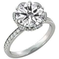 3 Carat GIA Diamond Engagement Ring, 18 Karat White Gold Floral Ring