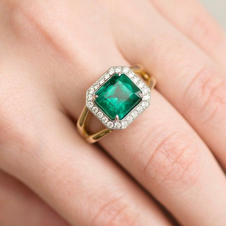 For Sale: undefined 3 Carat Intense Green Natural Emerald Diamonds 18 Karat Yellow White Gold Ring 3