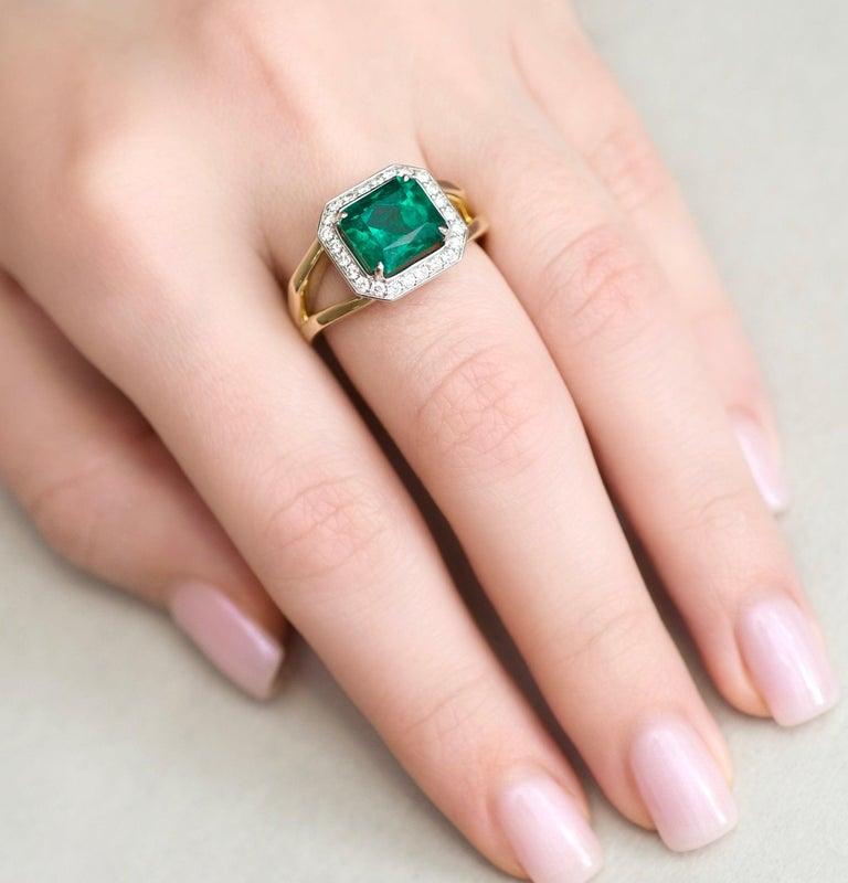 For Sale: undefined 3 Carat Intense Green Natural Emerald Diamonds 18 Karat Yellow White Gold Ring 7