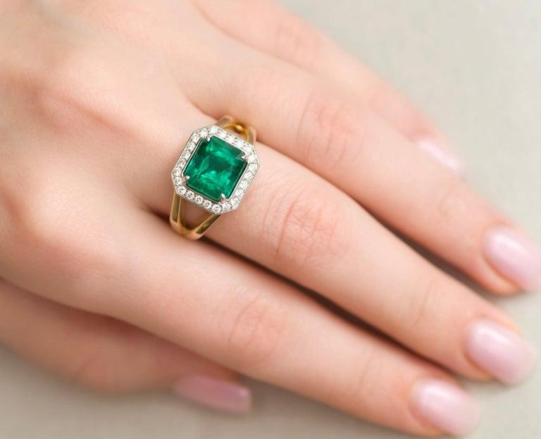 For Sale: undefined 3 Carat Intense Green Natural Emerald Diamonds 18 Karat Yellow White Gold Ring 9