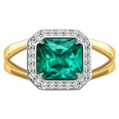 3 Carat Intense Green Natural Emerald Diamonds 18 Karat Yellow White Gold Ring
