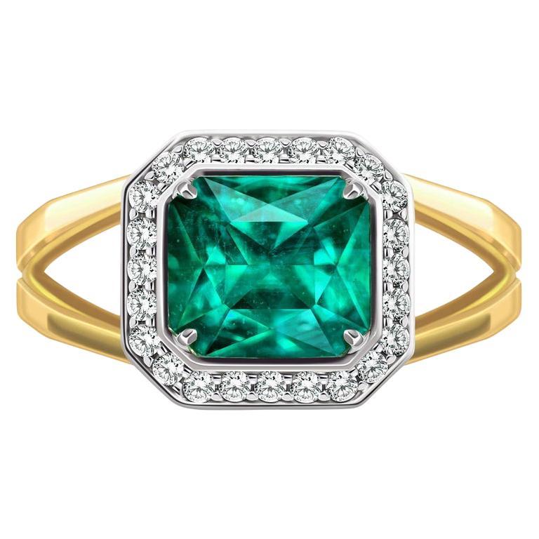 For Sale: undefined 3 Carat Intense Green Natural Emerald Diamonds 18 Karat Yellow White Gold Ring