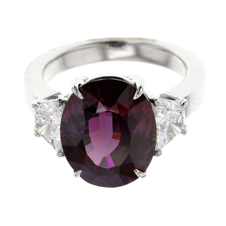 3 Carat Natural Brazil Alexandrite And Diamond Three Stone