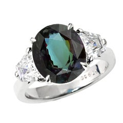 3 Carat Natural Brazil Alexandrite and Diamond Three-Stone Platinum Ring