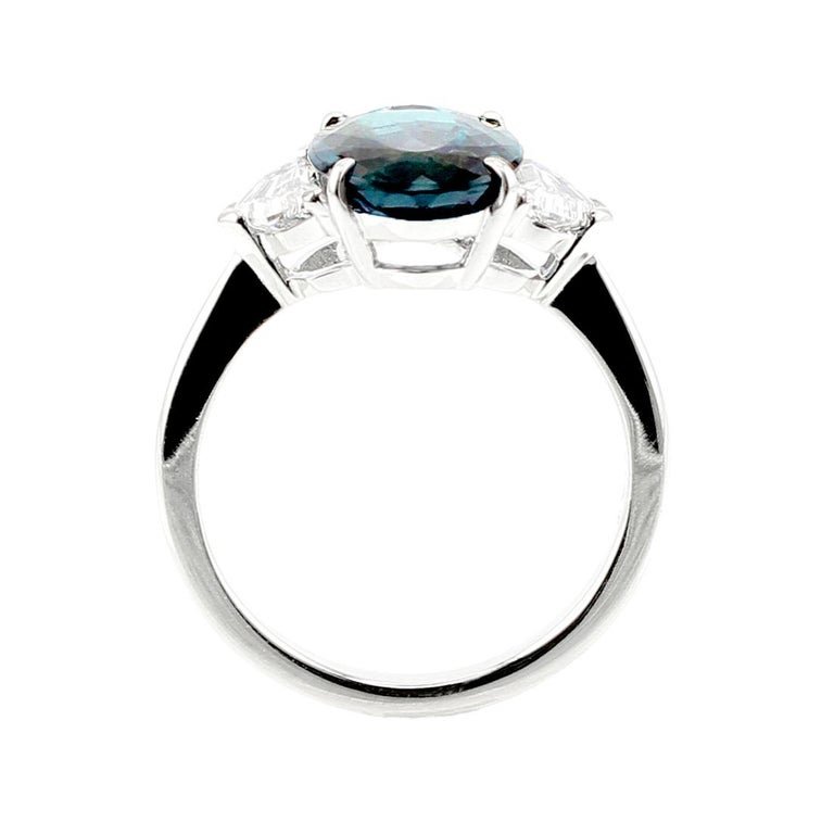 5b4d1e0743bc0 3 Carat Natural Brazilian Alexandrite and Diamond Three-Stone Platinum Ring