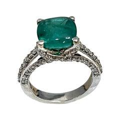 3 Carat Natural Cushion Cabochon Emerald & Diamond Ring 14 Karat White Gold