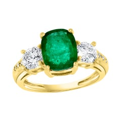 3 Carat Natural Cushion Cut Emerald & 2 Solitaire Diamond Ring 14 Kt Yellow Gold