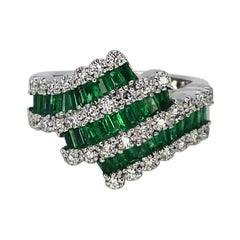3 Carat Natural Emerald Carre Diamond Cocktail Ring 18 Karat