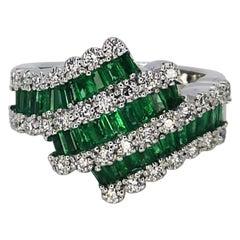 3 Carat Natural Emerald Carre Diamond Cocktail Ring 18 Karat
