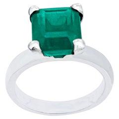 3 Carat Natural Emerald Cut Emerald Ring in Platinum