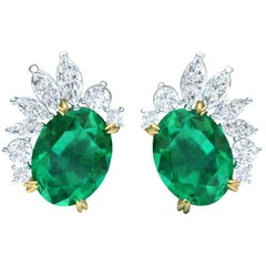 3 Carat of Emerald and Diamond Cluster Earrings