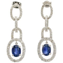 3 Carat Oval Cut Blue Sapphire and Diamond Dangle Earrings 14 Karat White Gold