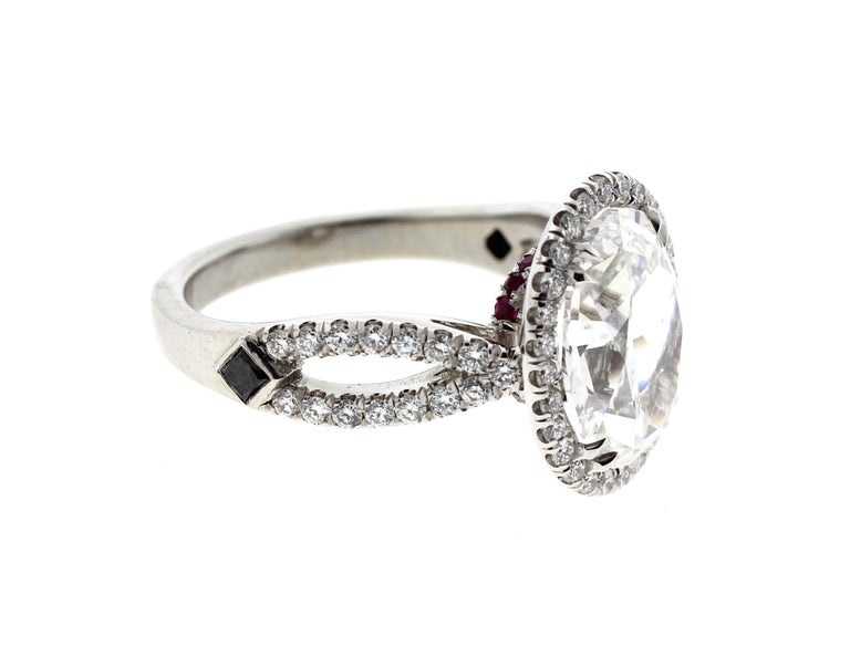 Modern 3 Carat Oval Diamond Engagement Ring with Twisted Shank, Platinum 'GIA' For Sale