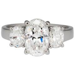 3 Carat Oval Three-Stone Platinum Ring