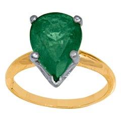 3 Carat Pear Cut Natural Emerald Ring 14 Karat Yellow & White Gold