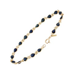 3 Carat Pear Sapphire Bracelet in Yellow Gold