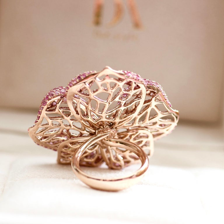 3 Carat Purple Spinel Pink Sapphire 18 Karat Rose Gold Flower Cocktail Ring For Sale 9