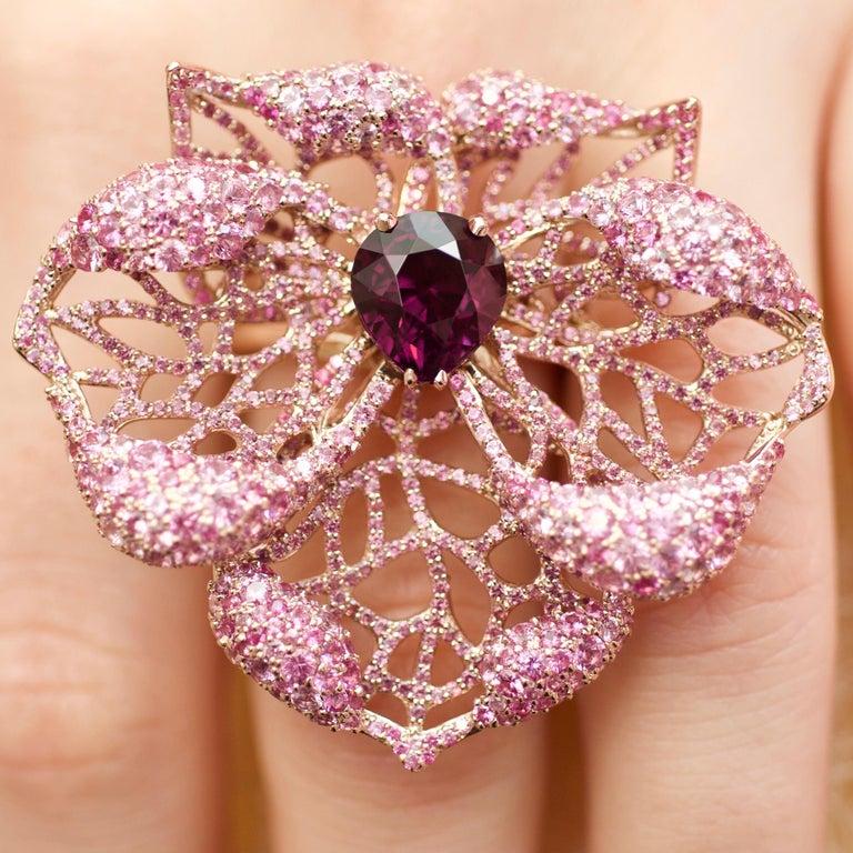 Romantic 3 Carat Purple Spinel Pink Sapphire 18 Karat Rose Gold Flower Cocktail Ring For Sale