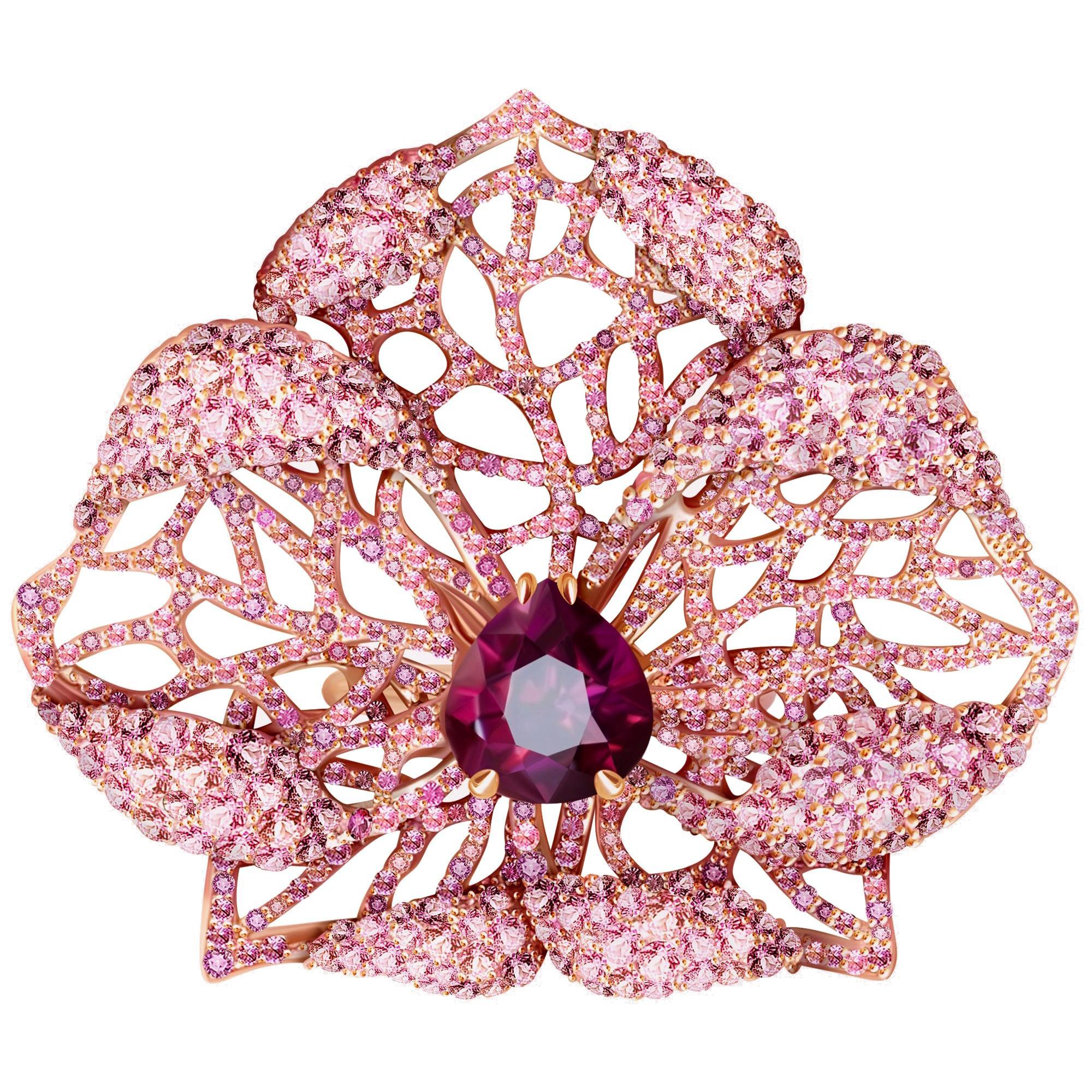 3 Carat Purple Spinel Pink Sapphire 18 Karat Rose Gold Flower Cocktail Ring
