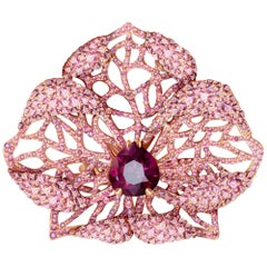 3 Carat Purple Spinel Pink Sapphire 18 Karat Rose Gold Flower Cocktail Ring