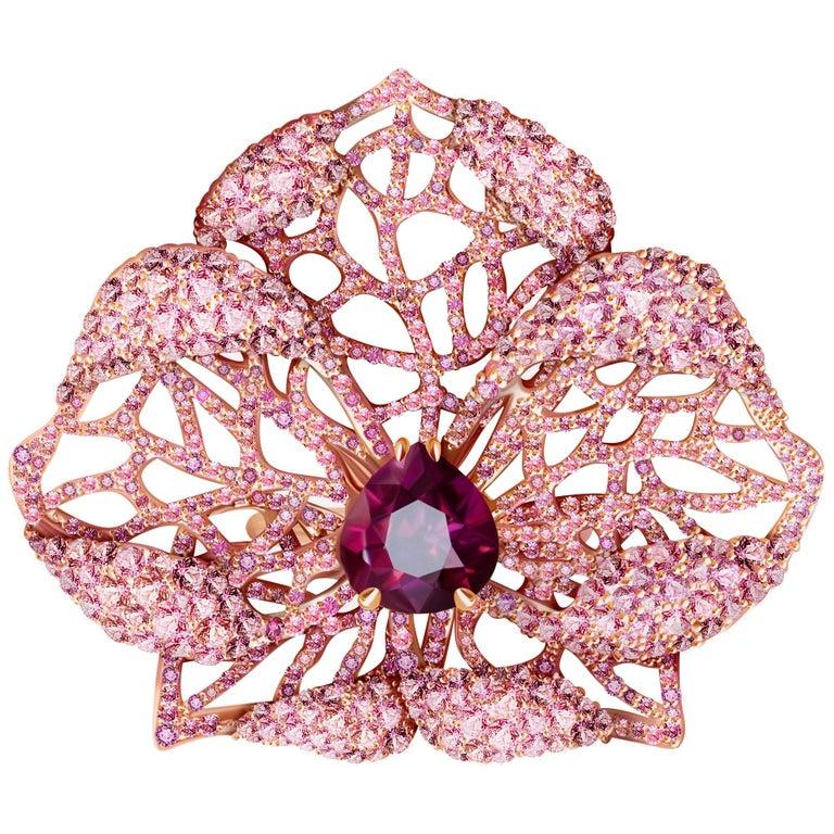 3 Carat Purple Spinel Pink Sapphire 18 Karat Rose Gold Flower Cocktail Ring For Sale