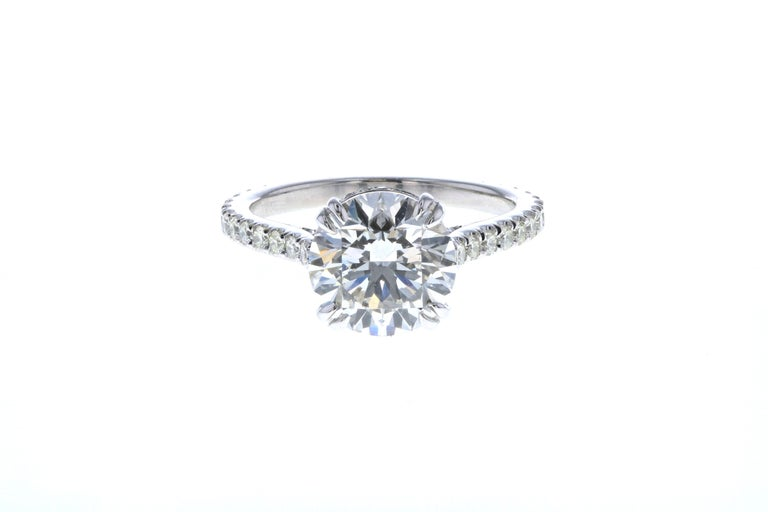 Modern 3 Carat Round Diamond Engagement Ring and Hidden Diamond Halo in Platinum GIA For Sale