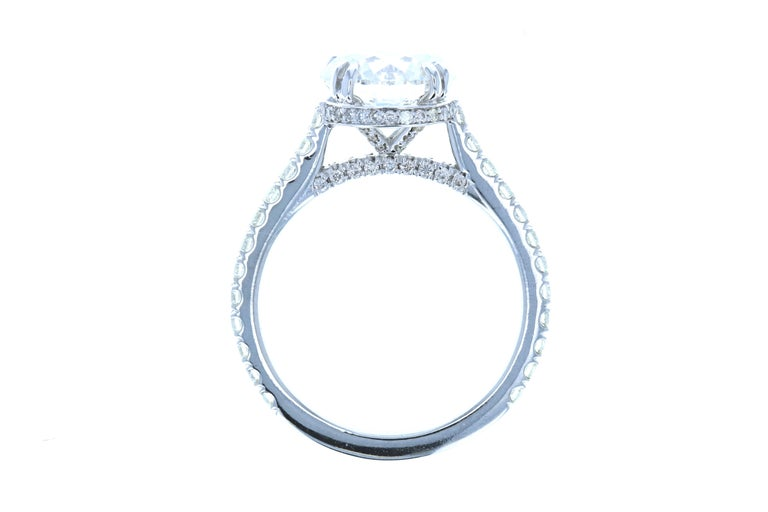Round Cut 3 Carat Round Diamond Engagement Ring and Hidden Diamond Halo in Platinum GIA For Sale