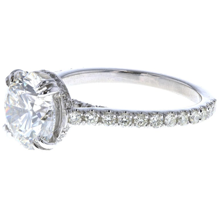 3 Carat Round Diamond Engagement Ring and Hidden Diamond Halo in Platinum GIA For Sale